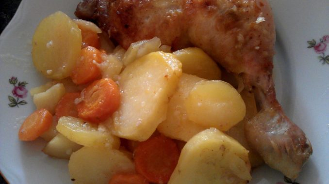 pečená kuřecí stehna na česneku